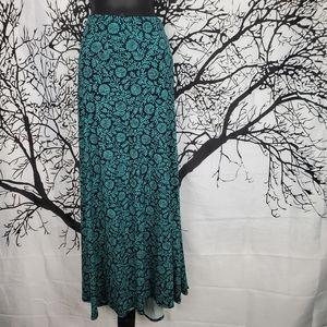 LuLaRoe Maxi Skirt Navy Blue w Teal Floral 2XL